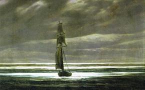 Wallpaper sail, seascape, The shore in the Moonlight, Caspar David Friedrich, ship, picture