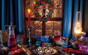 Picture wine, star, lamp, candle, cookies, window, Christmas, gifts, decanter, firecrackers