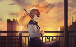Picture girl, the city, the evening, umbrella