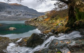 Picture autumn, mountains, lake, Wales, Llyn Peris