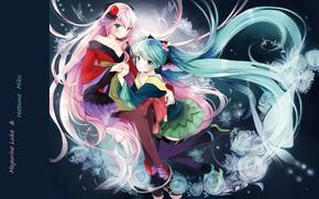 Picture butterfly, stockings, neckline, kimono, vocaloid, Hatsune Miku, long hair, friend, pink hair, Megurine Luka, blue …