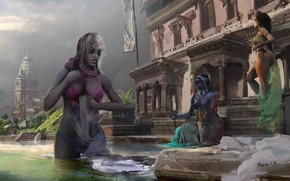 Picture women, Bathing, ablution