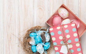 Picture Easter, wood, spring, Easter, eggs, decoration, Happy, the painted eggs