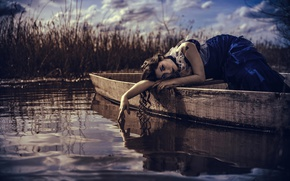 Picture water, girl, boat, curls