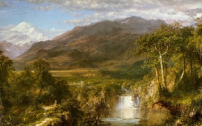 Picture landscape, river, Frederic Edwin Church, waterfall, Heart Of The Andes, nature, mountains, picture