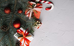Picture holiday, new year, gifts, decor, fir-tree branches