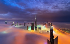 Wallpaper Dubai, the city, UAE, fog, night, lights