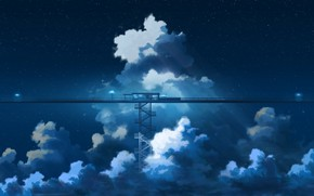 Picture the sky, clouds, night, anime