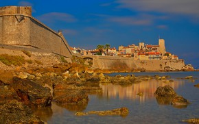 Picture sea, wall, France, tower, home, Provence, Antibes