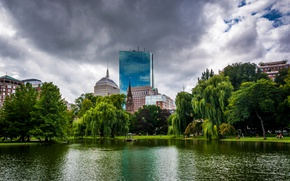 Picture the sky, clouds, trees, pond, Park, home, USA, Boston