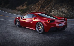 Wallpaper Ferrari, road, GTB, mountains, the evening, 488