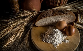 Picture eggs, spikelets, bread, flour