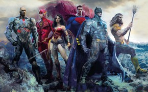 Wallpaper poster, The Flash, Batman, Superman, art, Wonder Woman, comic, figure, Aquaman, Cyborg, DC Comics, characters, ...