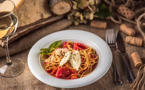 Picture wine, glass, tomatoes, sauce, pasta, Basil, mozzarella