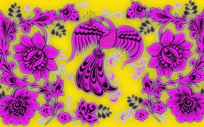 Picture background, pattern, texture, cardboard, picture, Khokhloma, floral ornament, The Firebird, acrylic paint