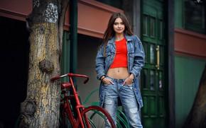 Wallpaper bike, pose, smile, tree, model, portrait, jeans, makeup, Mike, jacket, hairstyle, brown hair, beauty, is, ...