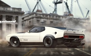 Picture Mustang, Ford, Auto, Figure, White, Machine, Background, Car, Ford Mustang, Car, Art, Art, Rendering, Mach …