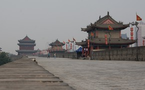Picture Road, The city, Wall, Pagoda