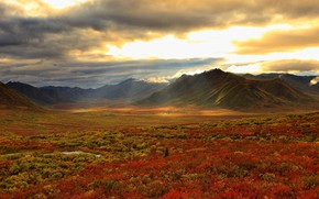 Picture autumn, clouds, mountains, valley, Canada, Yukon