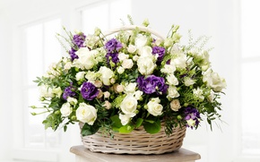 Picture basket, roses, bouquet, buds, roses, basket, eustoma, luxury, wicker, eustoma