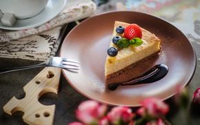 Wallpaper berries, strawberry, cake, blueberries, cheesecake