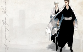 Picture katana, grey background, Bleach, Bleach, Japanese clothing, Shinigami, shinigami, Gin Ichimaru, Aizen Sousuke, by Tite …