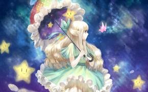 Picture the sky, umbrella, girl, bow, stars, crane, origami, ruffles, blue dress, long white hair
