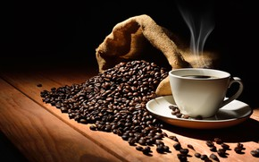 Picture table, background, black, coffee, grain, Cup, drink, bag, brown, saucer, aroma, smoke, coffee beans, array, …