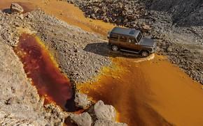 Picture water, stones, movement, color, Mercedes-Benz, 2018, G-Class, quarry