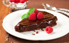 Picture raspberry, mint, brownie, chocolate, dessert