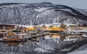 Wallpaper Nordland, Norway, Saltdal Fjord, Ronan, Rognan, town, Norway, the fjord, home, Nordland, mountains, reflection, boats