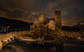 Picture the sky, water, clouds, night, clouds, bridge, old, darkness, castle, hills, romance, devastation, ruins, bricks, …