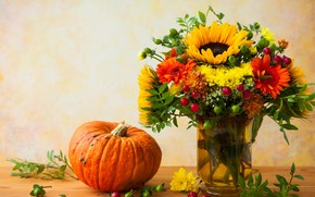 Picture flowers, berries, sunflower, bouquet, pumpkin, gerbera, chrysanthemum