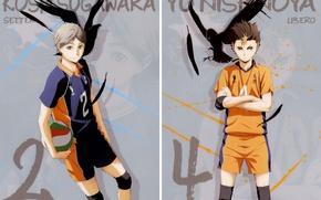 Picture the ball, feathers, crows, guys, sports uniforms, Haikyuu!!, Volleyball!, Yu Nishinoya, Koushi Sugawars, by Haruichi …