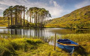 Wallpaper Nature, Grass, Boat, Scotland, Autumn, Lake, Trees