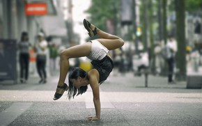 Wallpaper pose, yoga, gymnastics, girl, street