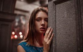 Picture lights, model, portrait, makeup, hairstyle, brown hair, bokeh, Disha Shemetova, Katherine Monich