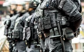 Picture police, men, uniform, equipment