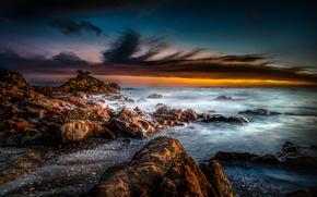 Picture sea, the sky, sunset, stones, shore, New Zealand, horizon