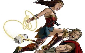 Wallpaper Blood, Heroes, Costume, Fight, Hammer, Heroes, Cloak, Wonder Woman, Superheroes, Blow, Marvel, Thor, Thor, DC ...
