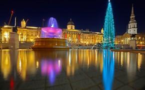 Wallpaper holiday, England, London, Trafalgar square, lights, tree, Christmas, fountain