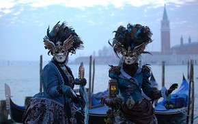 Picture Venice, channel, carnival, mask, costumes