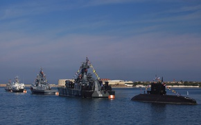 Picture boat, ships, parade, Navy, military, underwater, Sevastopol