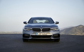 Picture the sky, mountains, grey, BMW, sedan, front view, Playground, 540i, 5, M Sport, four-door, 2017, …