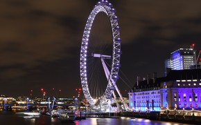 Picture night, the city, lights, London, wheel