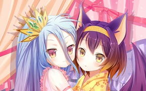 Picture girls, anime, art, two, No Game No Life