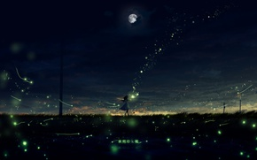 Picture road, night, river, fireflies, posts, lights, girl, characters, the full moon
