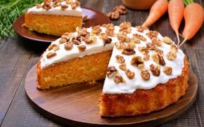 Picture pie, nuts, cream, dessert, sweet, carrot