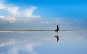 Picture the sky, water, girl, reflection, dress, horizon