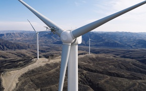 Picture drone, wind turbine, MWC 2017, DJI M200, isolated location, electric power generation, renewable energy, wilderness …